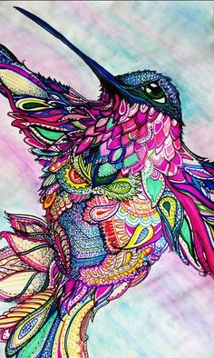 This is a spectacular use of color with Zentangle! Mixed Media Zen~Tangle Humming Bird by Michele Zurine Zentangle Drawings, Zentangle Patterns, Zentangles, Art Drawings, Mandala Nature, Image Mandala, Bird Art, Medium Art, Doodle Art