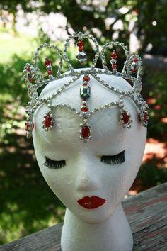 Professional Ballet Headpiece Tiara Ballerina Red by Angamow