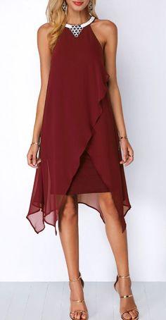 d4d7b628993a Chiffon Overlay Embellished Neck Wine Red Dress. #Rosewe#dress#chiffon