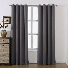 Nicetown Three Pass Microfiber Noise Reducing Thermal Insulated Solid Ring Top Blackout Window Curtains / Drapes (Two Panels,42 x 84 Inch,Gray)
