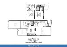 Naval Complex San Diego – Silver Stand II Neighborhood: 2 bedroom 1.5 bathroom townhome floor plan.