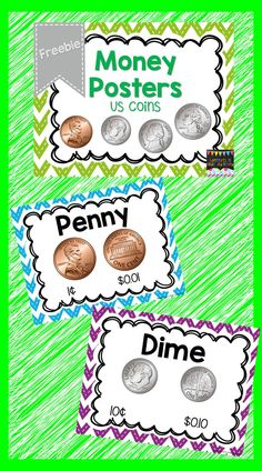This is a set of money posters that can be displayed in your classroom to help your students learn money.  These posters are a perfect addition to your math wall. The file includes a poster for penny, nickel, dime and quarter.