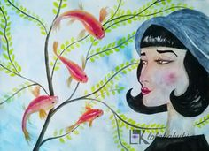 """Peces"" de Lola Kabuki  #love #art #watercolor #paintings #illustration"