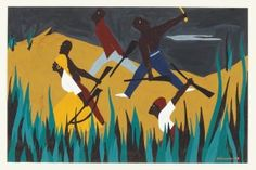 "Jacob Lawrence, Toussaint L'Ouverture series, no. 38, ""Napoleon's attempt to restore slavery in Haiti was unsuccessful. Desalines, Chief of the Blacks, defeated LeClercirca. Black men, women, and children took up arms to preserve their freedom"" (detail), 1938, gouache on paper. Amistad Research Center,  New Orleans, LA, Gift of the Harmon Foundation, 1982"