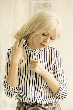 striped zara shirt + houndstooth shorts