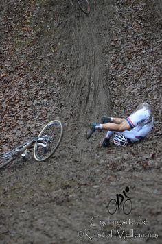 Lars van de Haar takes a tumble at the 2013 World cup race in Namur