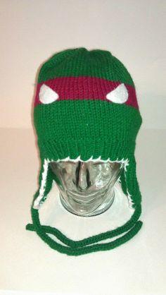 SOLD - Red ninja turtle ear flap hat.
