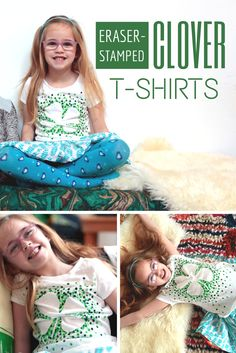 St Patrick's Day Craft: DIY Clover-Stamped T-Shirts >> http://blog.hgtv.com/design/2015/03/12/hgtv-crafternoon-diy-these-stamped-clover-t-shirts/?soc=pinterest