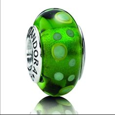 Authentic Pandora Green Bubble Murano Charm Retired green Murano glass charm with bubbles. Pre-used condition. ***bracelet sold separately*** Pandora Jewelry Bracelets