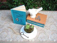 Wedding Decorations Vintage Book Table by SecretGardenHerbs, $35.00 #VintageWedding #VintageBooksAsDecor #VintageStyle