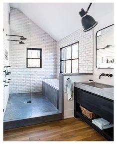 Rustic Master Bathroom, Beige Bathroom, Bathroom Interior, Small Bathroom, Bathroom Ideas, Bath Ideas, Industrial Bathroom, Modern Industrial, Bathroom Tub Shower