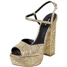 Dsquared2 Women 150mm Brocade Platform Sandals ($920) ❤ liked on Polyvore featuring shoes, sandals, dsquared2 shoes, leather sole shoes, high heel shoes, high heel sandals and high heel platform shoes