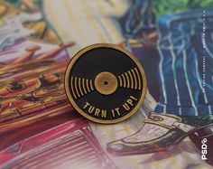 Turn It Up! - Vinyl Enamel Pin 1 Die-stamped Pin in Antique Gold Metal with Black Enamel & Rubber Clasp. Limited Edition —— © PS Design Co. /