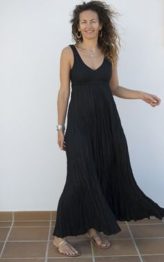 Black Maxi Dress in Crinkled Linen by azulsol on Etsy, $85.00