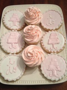 Pink and white wedding shower favors