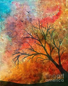 Crow Tree and Colored Sky by Barbara Griffin