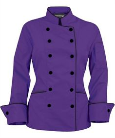 there's the purple chef coat with black buttons. Chef Dress, Restaurant Uniforms, Chef Jackets, Stylish, Sleeves, Outfits, Clothes, Dental Uniforms, Chef Coats