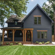Farmhouse Exterior Design Ideas - The farmhouse exterior design totally reflects the entire style of the house and also the household custom too. The modern farmhouse style is not only for. House Paint Exterior, Exterior House Colors, Exterior Design, Black Exterior, Simple House Exterior, Exterior Siding, Black Windows Exterior, Wood Cladding Exterior, Clapboard Siding