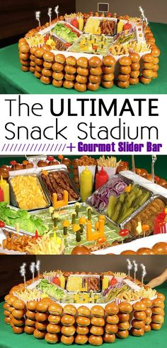 "Be the MVP of your Super Bowl party by building this epic snack stadium featuring a gourmet slider bar with custom toppings. Guacamole dip as the field, burger/slider toppings along the sides, cheese ""foam"" fingers and brioche buns all along the stadium walls - this snack stadium has it ALL. Watch the video here: http://www.ehow.com/how_12343108_build-gourmet-snack-stadium-super-bowl-party.html?utm_source=facebook.com&utm_medium=referral&utm_content=freestyle&utm_campaign=fanpage"