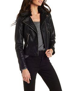 70d95dede68 Faux Fur   Leather Moto Jacket  Charlotte Russe Faux Fur