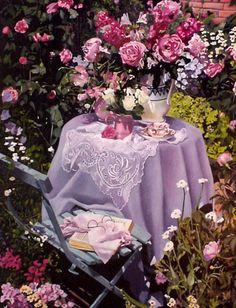 En plein air by camilla. Porches, Lavender Cottage, My Secret Garden, Plein Air, Shades Of Purple, Tea Time, Beautiful Flowers, Simply Beautiful, Beautiful Things