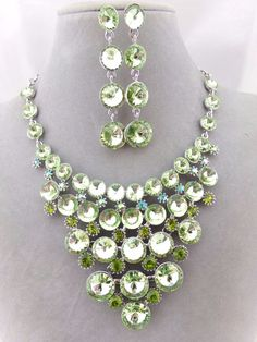 CLEARANCE Beautiful Mint Green Acrylic Rhinestone Necklace with Matching Earrings Set