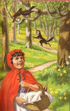 Little Red Riding Hood - he wolf says goodbye and Red Riding Hood continues on her journey..