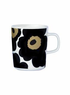Oiva/Unikko 50 years mug (white, black) |Décor, Kitchen & Dining, Dinnerware, Kupit ja mukit | Marimekko