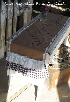 Burlap Table Runner - Sweet Tea and Jesus - Farmhouse -Triple White with Black Gingham Check Ruffles -  By:Sweet Magnolias Farm via Etsy