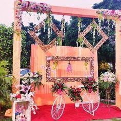 Reception Stage Decor, Wedding Reception Backdrop, Outdoor Wedding Decorations, Wedding Entrance Decoration, Backdrop Decorations, Ceremony Decorations, Flower Decorations, Wedding Ceremony, Wedding Stage Design