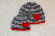 Valentine's Day boy gray stripe crochet hat photography prop - infant, toddler, child and adult Crochet Teddy Bear Pattern, Crochet Baby, Knit Crochet, Knitted Washcloths, Knitted Hats, Knitting Patterns, Crochet Patterns, Crochet Ideas, Hat Patterns