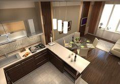 Проект кухни объединенной с гостиной в квартире во 2-м Самотечном переулке
