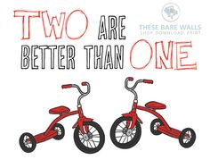 Two Are Better Than One Tricycles Printable Wall Art | Tricycle Print | Twins Nursery | Twins Print | Twins Bedroom | Twins Decor | Twin Boys | Twin Boys Bedroom | Nursery Decor