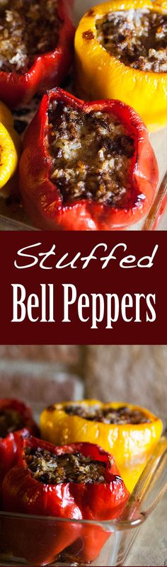 Perfect comfort food! Bell peppers stuffed with ground beef, rice, and herbs, and baked in the oven. So good! On SimplyRecipes.com