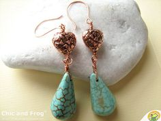 Turquoise earrings I heart turquoise by Chicandfrog on Etsy