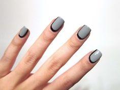 black & grey nails