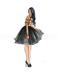 Polka dots girly wall art, Girl fashion art, Fashion wall decor, Girl figure art print, Gift for her, Dressing room art by RongrongIllustration on Etsy https://www.etsy.com/listing/240314537/polka-dots-girly-wall-art-girl-fashion