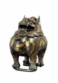 A parcel-gilt bronze 'qilin' censer, century, from the Collection of Cheng Huan, Q. Feng Shui Objects, Stone Lion, Art Chinois, Fu Dog, Lion Dog, Asian Design, Incense Burner, Chinese Antiques, Antiquities
