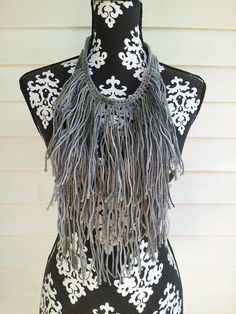 Grey Gray Fringe Necklace  Crocheted Bohemian by BlackPearl, $27.00