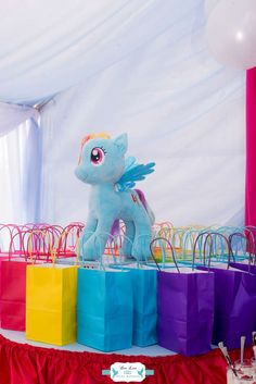 Dee Lee Designs's Birthday / Rainbow Dash My Little Pony - Photo Gallery at Catch My Party My Little Pony Birthday Party, Unicorn Birthday Parties, 7th Birthday, Birthday Ideas, Mini Pony, Party Themes, Party Ideas, Rainbow Dash, Ponies