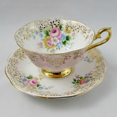 Royal Albert Pink Tea Cup and Saucer with Flowers Vintage