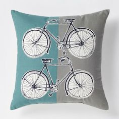 Made of a cotton-poly blend, the Bicycle Pillow features a retro-inspired illustration printed on a brightly shaded cushion.