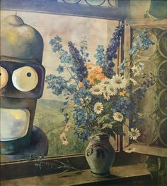 Futurama Parody Painting with Bender Robot, 'Outside, Looking In' - Repurposed Thrift Art - Limited Edition Print, Bender Futurama Parody