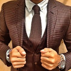 """everybodylovessuits: """" I have started to really like brown as a suit color. Checks and knitted tie, I like. (The shirt is not great thou) For more suits check out EverybodyLovesSuits at tumblr """" Just..."""