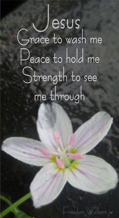 Jesus :  G. P. S.~ Grace to wash me.  Peace to hold me.  Strength to see me through.
