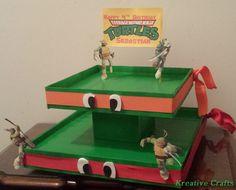 Teenage Mutant Ninja Turtle Cake.  Party Cupcake Stand.  Kreative Crafts