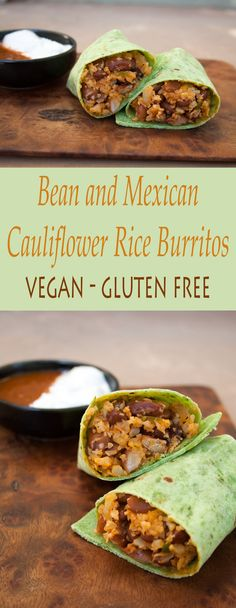 Bean and Mexican Cauliflower Rice Burritos - These spicy vegan gluten free burritos are great for a weeknight because they are super easy to throw together. #veganburritos #cauliflowerrice #mexicanfood