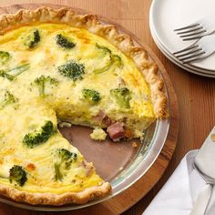 Ham and Broccoli Quiche @keyingredient #cheese #pie