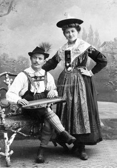 old traditional German costumes on an old postcard