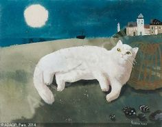 White Cat Lying Down by Mary Fedden